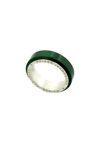 Ostrowski Design Ring Joy Line khaki - zilver