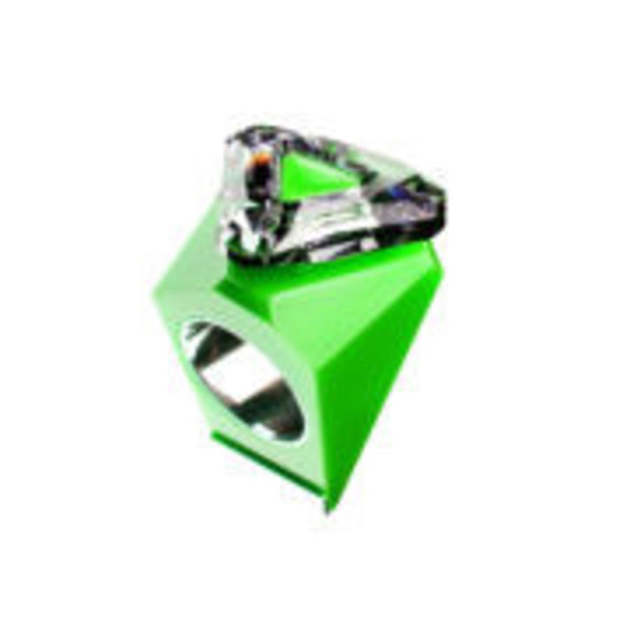 Big Ring driehoek groen -zilver-1