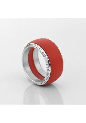 Ostrowski Design Ring Joy Line max koraal - zilver