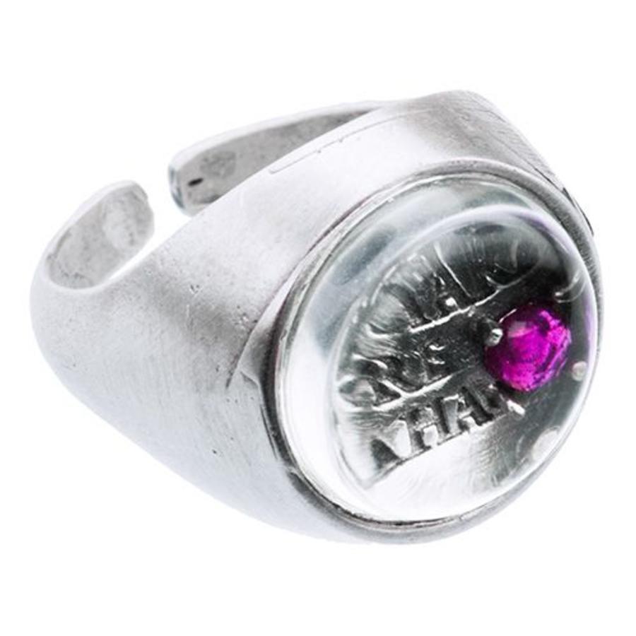 """Ring """"mantra"""" MS5529 met bergkristal en robijn-1"""
