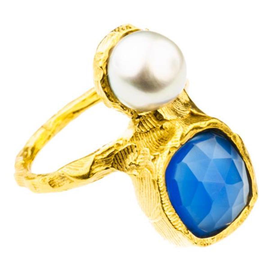 "Ring ""treasure island"" MG5210 blauwe agaat, zoetwaterparel-1"