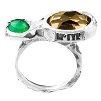 "Ring ""treasure island"" M5413 groene agaat, honing kwarts"