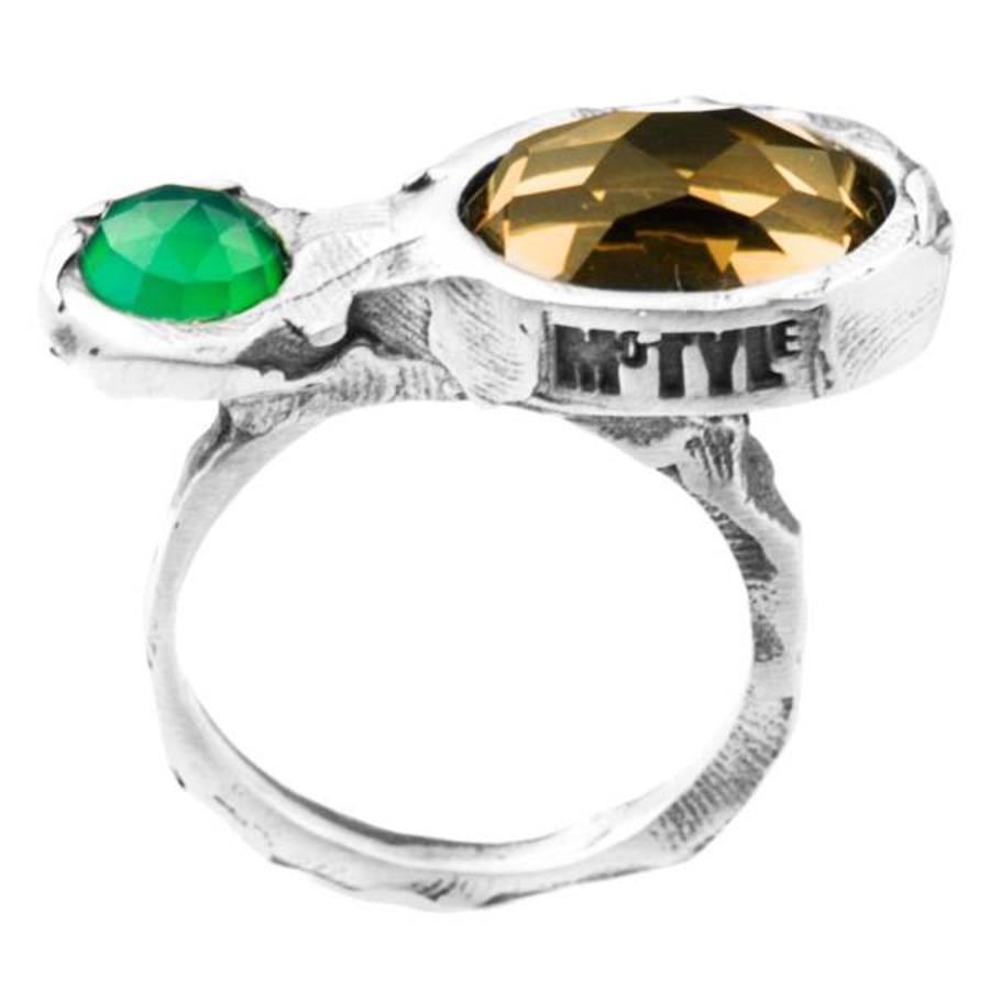 "Ring ""treasure island"" M5413 groene agaat, honing kwarts-1"