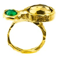 "Ring ""treasure island"" MG5208  groene agaat, honing kwarts"