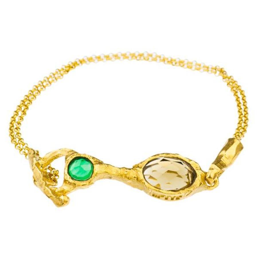 "Armband  ""treasure island"" MG3208 groene agaat, honing kwarts-1"