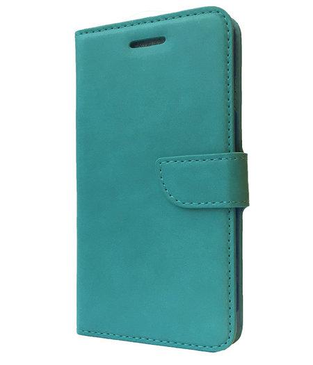 HEM Aquablauw boekje voor HTC One M7 met vakje voor pasjes, geld en fotovakje
