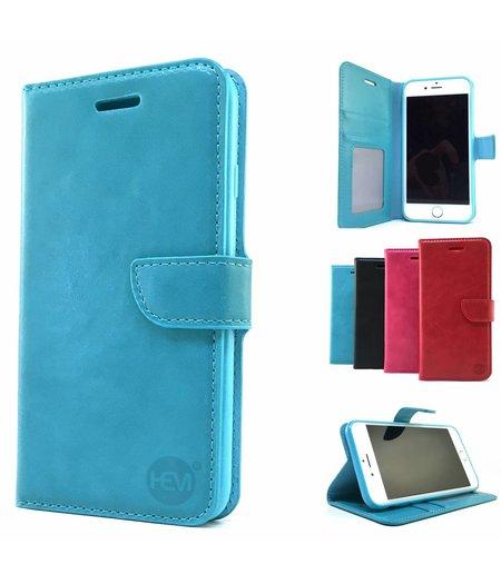 HEM Aquablauwe Wallet / Book Case / Boekhoesje/ Telefoonhoesje / Hoesje iPhone 5/5S/SE met vakje voor pasjes, geld en fotovakje