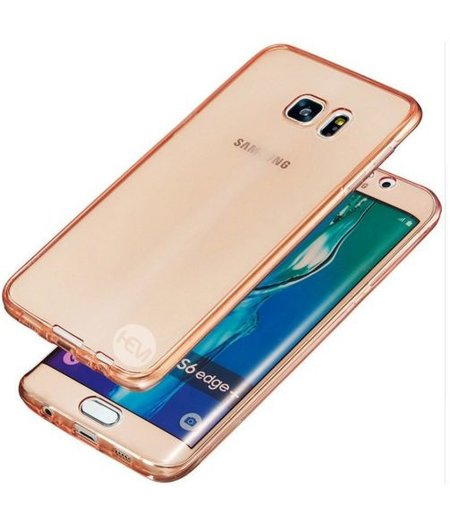 Galaxy S6 Edge SM-G925 Full protection siliconen roze transparant voor 100% bescherming