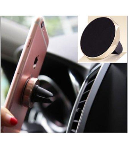 HEM Gouden Magnetische universele telefoon houder / Autohouder Goud / Airvent holder Inclusief uitschuifbare Hoesjesweb Stylus Pen