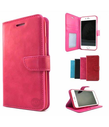 HEM Roze Wallet / Book Case / Boekhoesje/ Telefoonhoesje / Hoesje iPhone 8 met vakje voor pasjes, geld en fotovakje