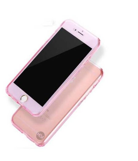 HEM iPhone 8 Plus Full protection siliconen roze transparant voor 100% bescherming