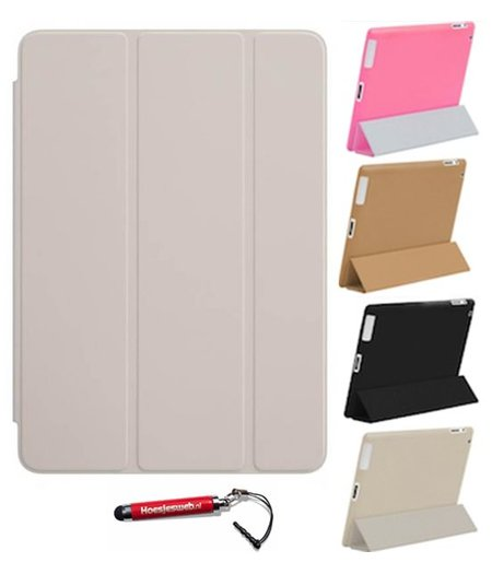 HEM iPad Air 1 Smart Cover beige / Vouw hoesjes Apple iPad Air 1 / Vouw hoesje iPad Air 1 / Inclusief handige uitschuifbare Hoesjesweb Stylus Pen