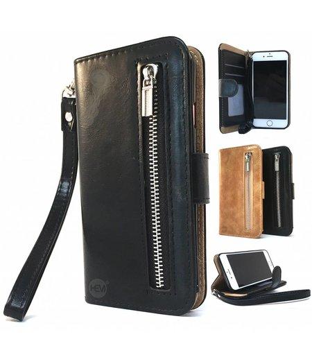 HEM iphone 8 Zwarte Wallet / Book Case / Boekhoesje/ Telefoonhoesjemet aparte pasjesflip en rits voor kleingeld