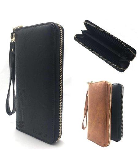 HEM Zwart Lederen vintage telefoon- portemonnee / telefoon hoes met vakjes voor 12 pasjes en kleingeldrits  met polsbandje