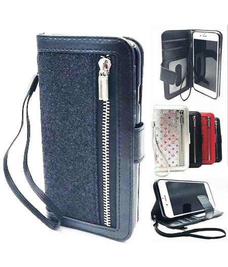 HEM iPhone 6 Plus Zwarte Glitter Wallet / Book Case / Boekhoesje/ Telefoonhoesje met rits en hoesjeswebstylus