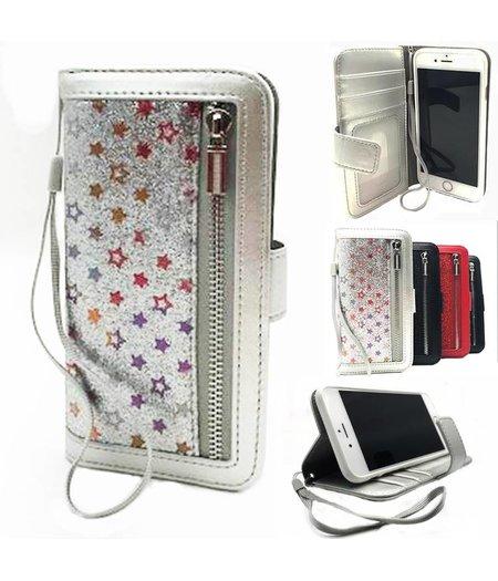 HEM iPhone 6/6S Zilveren Glitter met sterren Wallet / Book Case / Boekhoesje/ Telefoonhoesje met rits en hoesjeswebstylus