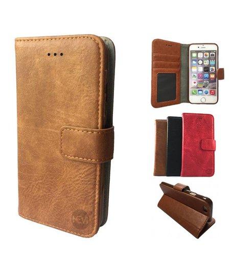 HEM Samsung Galaxy S9 Plus  Suede look gevlamd bruin boekhoesje met vakje voor pasjes geld en een fotovakje en polsbandje