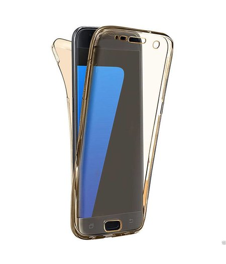 HEM Shockproof 360° Goud Transparant Samsung A3 2017 SM-A320 Siliconen Ultra Dun Gel TPU Hoesje Full Cover / Case