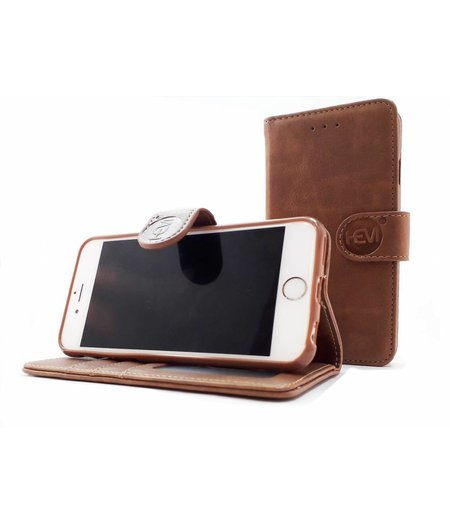 HEM Apple iPhone SE / 5/ 5S  - Bronzed Brown Leren Portemonnee Hoesje - Lederen Wallet Case TPU meegekleurde binnenkant- Book Case - Flip Cover - Boek - 360º beschermend Telefoonhoesje