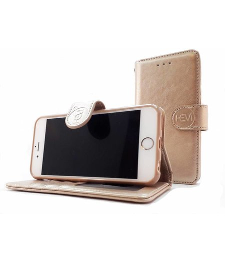 HEM Apple iPhone 7 Plus/8 Plus - Golden Shimmer Leren Portemonnee Hoesje - Lederen Wallet Case TPU meegekleurde binnenkant- Book Case - Flip Cover - Boek - 360º beschermend Telefoonhoesje