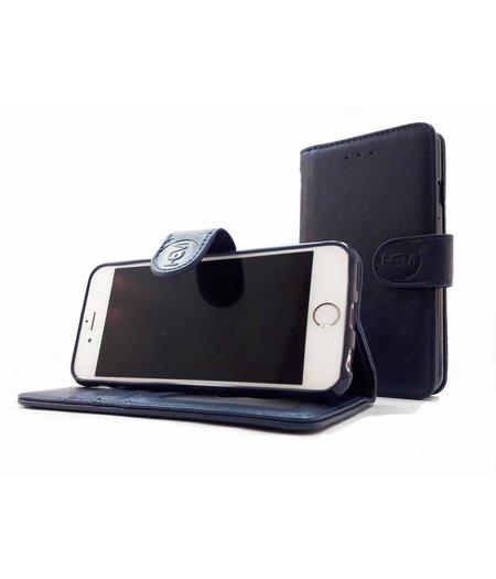 HEM Apple iPhone 7 Plus/8 Plus  - Marine Blue Leren Portemonnee Hoesje - Lederen Wallet Case TPU meegekleurde binnenkant- Book Case - Flip Cover - Boek - 360º beschermend Telefoonhoesje