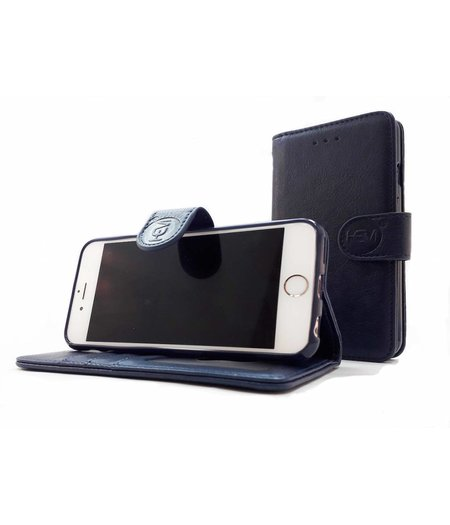 HEM Apple iPhone XS Max - Marine Blue Leren Portemonnee Hoesje - Lederen Wallet Case TPU meegekleurde binnenkant- Book Case - Flip Cover - Boek - 360º beschermend Telefoonhoesje