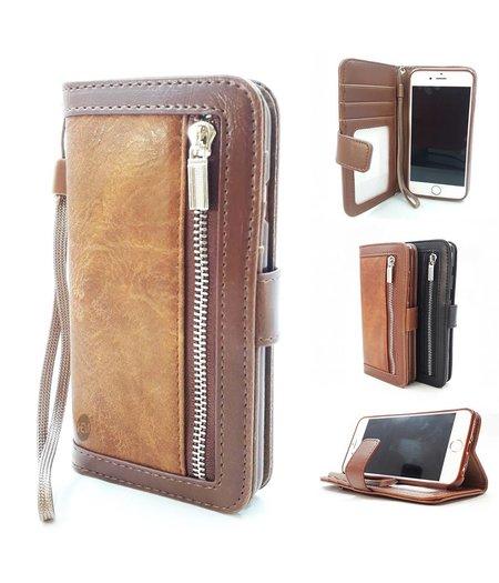 HEM iPhone 5/5S/ SE Bruine Wallet / Book Case / Boekhoesje/ Telefoonhoesje / Hoesje met aparte pasjesflip en rits voor kleingeld