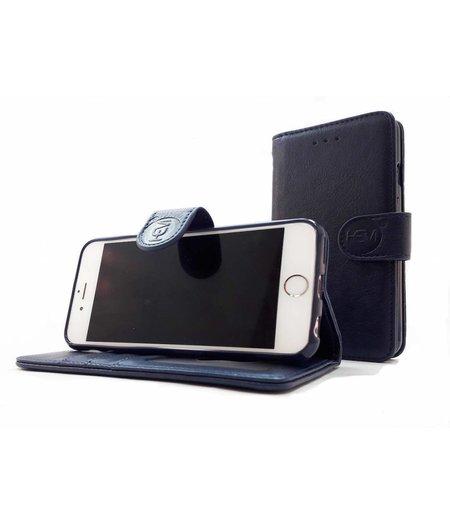 HEM Samsung A6 2018 SM-A600 - Marine Blue Leren Portemonnee Hoesje - Lederen Wallet Case TPU meegekleurde binnenkant- Book Case - Flip Cover - Boek - 360º beschermend Telefoonhoesje