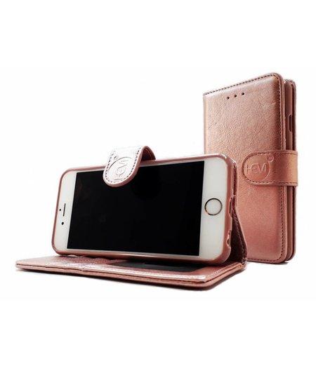 HEM Samsung A6+ 2018 SM-A605 - Rose Gold Leren Portemonnee Hoesje - Lederen Wallet Case TPU meegekleurde binnenkant- Book Case - Flip Cover - Boek - 360º beschermend Telefoonhoesje