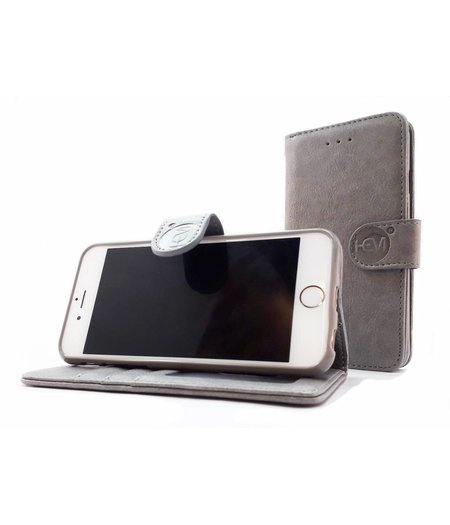 HEM Samsung A6+ 2018 SM-A605 - Vintage Grey Leren Portemonnee Hoesje - Lederen Wallet Case TPU meegekleurde binnenkant- Book Case - Flip Cover - Boek - 360º beschermend Telefoonhoesje
