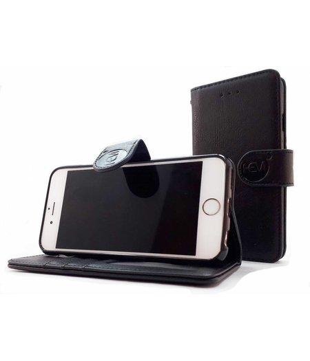 HEM Samsung J7 2017 J730 - Antique Black Leren Portemonnee Hoesje - Lederen Wallet Case TPU meegekleurde binnenkant- Book Case - Flip Cover - Boek - 360º beschermend Telefoonhoesje