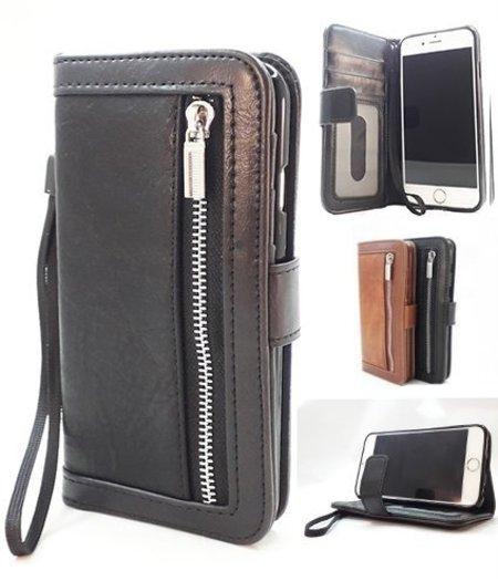 HEM iPhone 5/5S/SE Zwarte Wallet / Book Case / Boekhoesje/ Telefoonhoesje / Hoesje met pasjesflip en rits voor kleingeld