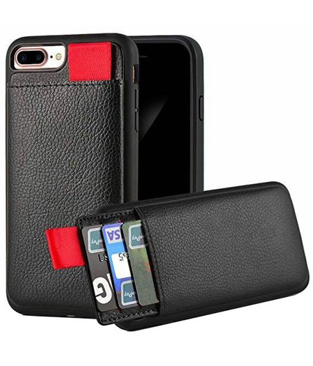Ostar Apple iPhone 7/8 Plus Zwart Lederen Ostar hoesje/case met Pasjeshouder