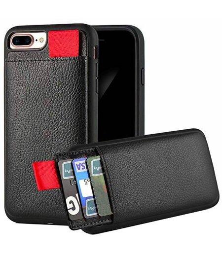 Ostar Apple iPhone X Zwart Lederen Ostar hoesje/case met Pasjeshouder