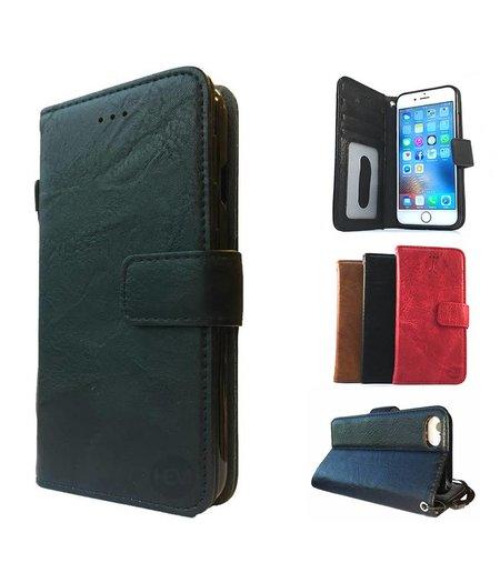 HEM Samsung Galaxy J6 Plus Suede look gevlamd zwart boekhoesje met vakje voor pasjes geld en een fotovakje en polsbandje