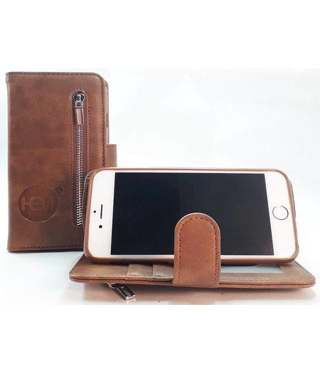 HEM Samsung A6 Plus 2018 SM-A605 - Bronzed Brown Leren Rits Portemonnee Hoesje - Lederen Wallet Case TPU meegekleurde binnenkant- Book Case - Flip Cover - Boek - 360º beschermend Telefoonhoesje