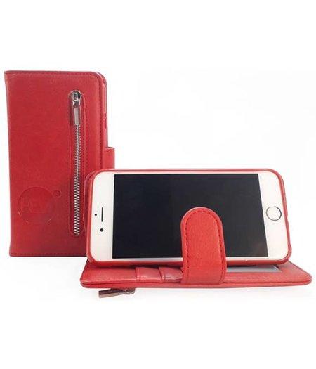HEM Samsung J4 Plus - Burned Red Leren Rits Portemonnee Hoesje - Lederen Wallet Case TPU meegekleurde binnenkant- Book Case - Flip Cover - Boek - 360º beschermend Telefoonhoesje
