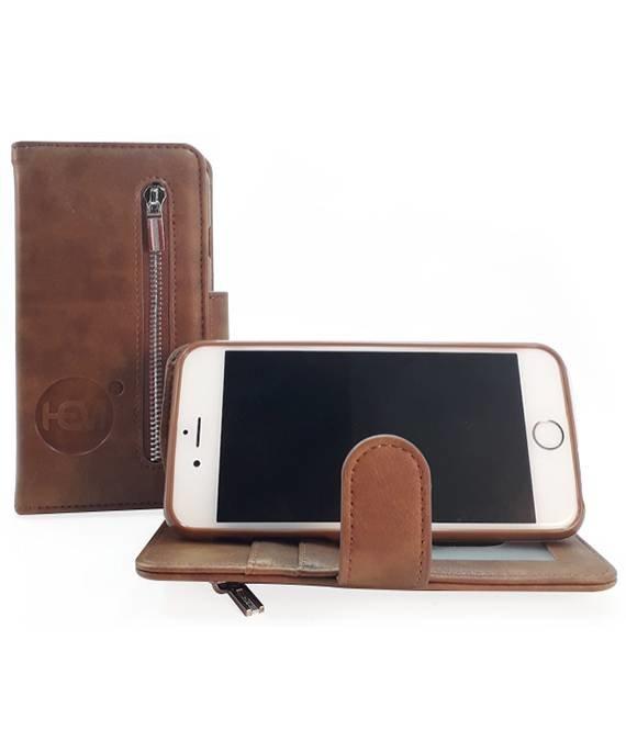HEM Samsung A7 2018 - Bronzed Brown Leren Rits Portemonnee Hoesje - Lederen Wallet Case TPU meegekleurde binnenkant- Book Case - Flip Cover - Boek - 360º beschermend Telefoonhoesje