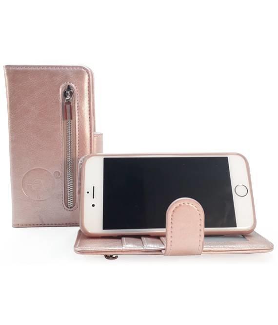 HEM Samsung A7 2018 - Rose Gold Leren Rits Portemonnee Hoesje - Lederen Wallet Case TPU meegekleurde binnenkant- Book Case - Flip Cover - Boek - 360º beschermend Telefoonhoesje
