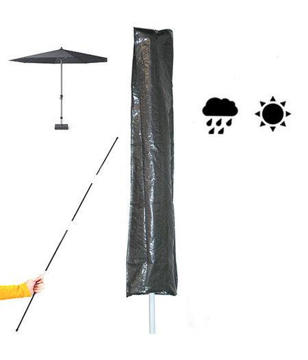 HOC Basic (sta/stok) Parasolhoes  met rits en stok 230x30/57 cm