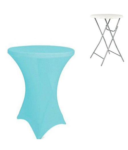 HOC Turquoise (licht) Statafelhoes / Statafelrok / Tafelrok  ∅80 x 110 cm