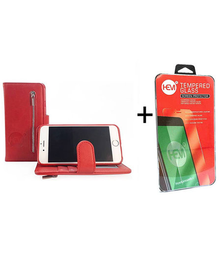HEM Apple iPhone  7 / 8 Burned Red Leren Rits Portemonnee Hoesje + Screenprotector / Tempered Glass