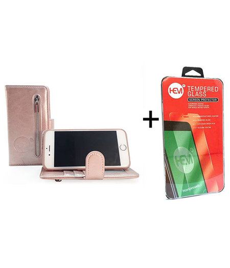 HEM Apple iPhone  7 / 8 Rose Gold Leren Rits Portemonnee Hoesje + Screenprotector / Tempered Glass