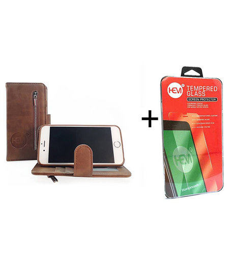 HEM iPhone 6/6s Bronzed Brown Leren Rits Portemonnee Hoesje + Screenprotector / Tempered Glass