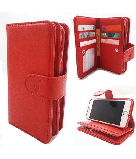 HEM Apple iPhone 7 Plus/8 Plus - Burned Red - Pasjeshouder - Telefoonhoesje met extra flap voor 9 pasjes