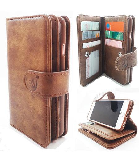 HEM Samsung A6 Plus 2018 SM-A605 - Bronzed Brown - Pasjeshouder - Telefoonhoesje met extra flap voor 9 pasjes