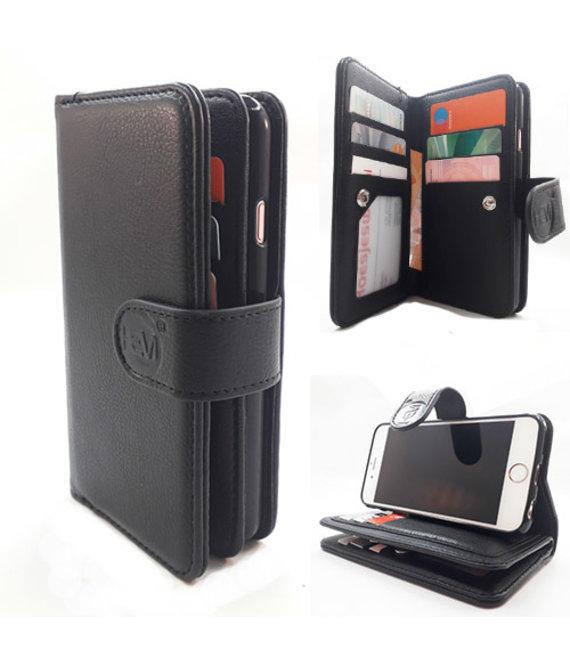 HEM  Samsung A6 Plus 2018 SM-A605 - Antique Black - Pasjeshouder - Telefoonhoesje met extra flap voor 9 pasjes