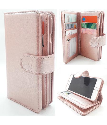 HEM Samsung J4 Plus - Rose Gold - Pasjeshouder - Telefoonhoesje met extra flap voor 9 pasjes