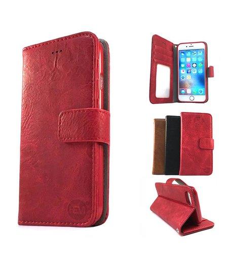 HEM iPhone 7 Plus Suede look gevlamd rood boekhoesje met vakje voor pasjes geld en een fotovakje en polsbandje