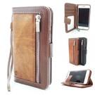 HEM Samsung Galaxy A20e Bruine Wallet / Book Case / Boekhoesje/ Telefoonhoesje / Hoesje met pasjesflip en rits voor kleingeld